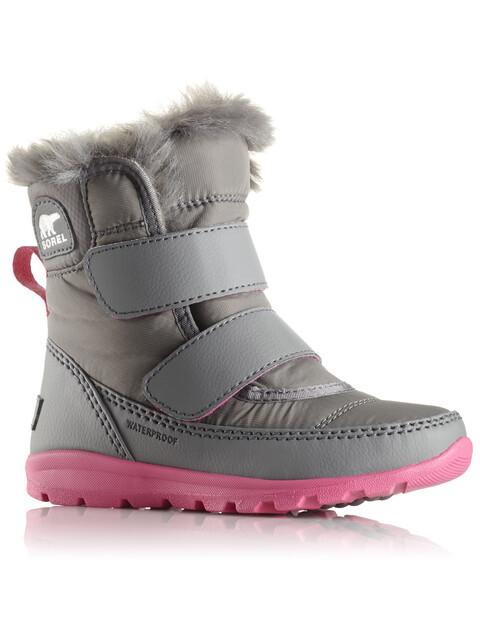 Sorel Whitney Short Velcro Boots Children Quarry/Ultra Pink